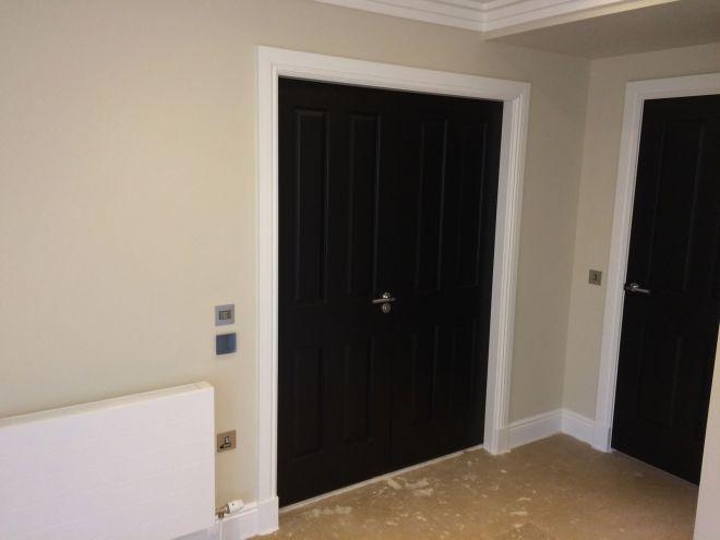 Black double doors